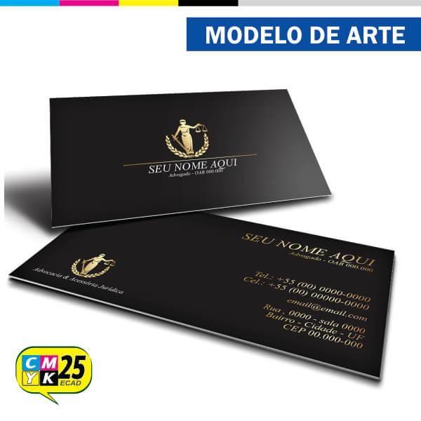 Detalhes do produto Cartão de Visita Advogado - Preto e Dourado