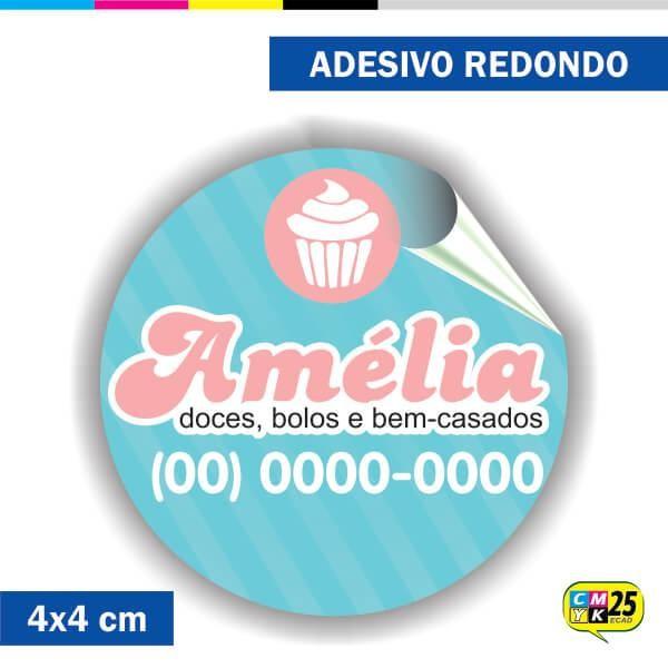 Detalhes do produto Adesivo Redondo em Papel - 4x4cm