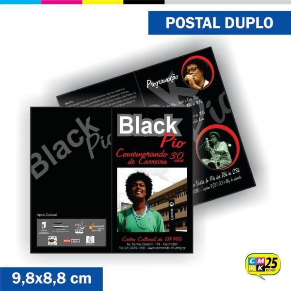 Detalhes do produto Postal Duplo - 4x4 Cores - Laminação Fosca - Verniz Localizado
