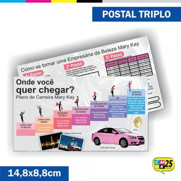 Detalhes do produto Postal Triplo - 4x4 Cores - Verniz Total Frente