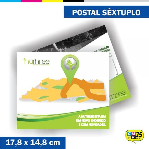 Detalhes do produto Postal Sêxtuplo - 4x4 Cores - Laminação Fosca - Verniz Localizado