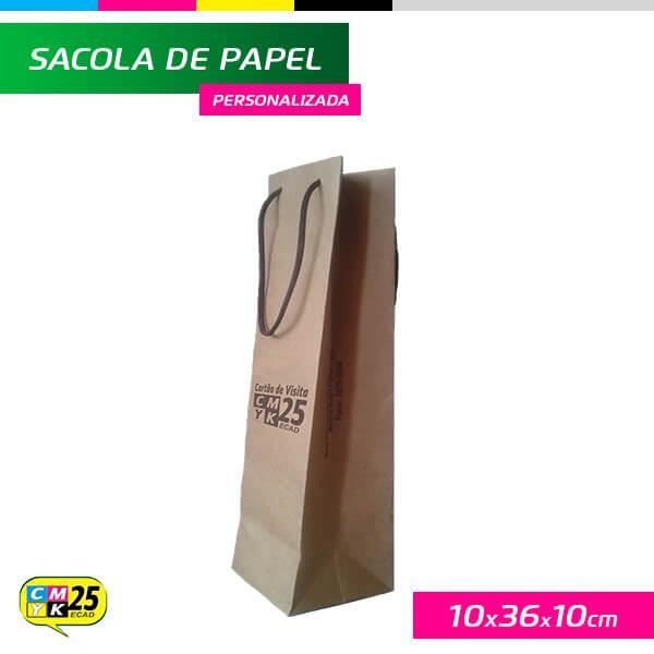 Detalhes do produto Sacola para Garrafa - Papel Kraft 135g - 10x36x10cm
