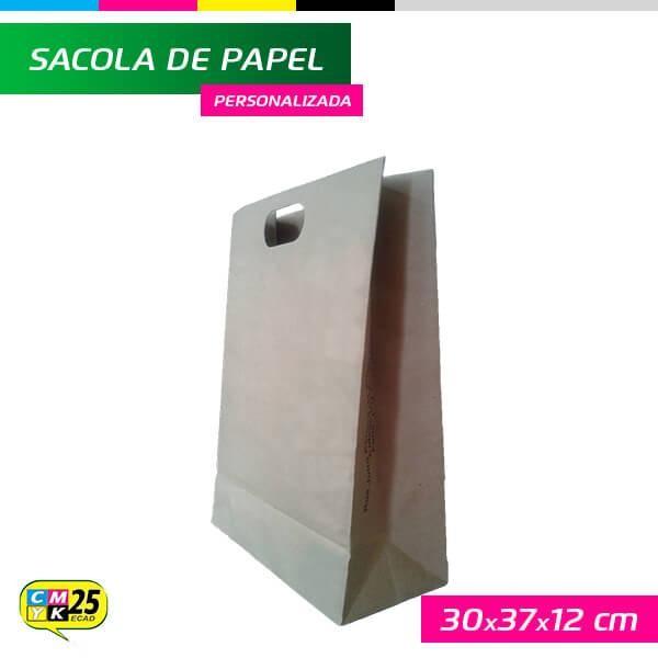 Detalhes do produto Sacola de Papel Kraft - 27x37x12cm - 10 Unid