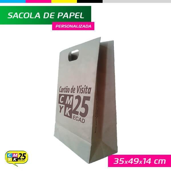 Detalhes do produto Sacola de Papel Kraft Personalizada - 35x49x14cm - 1.000 Unid.
