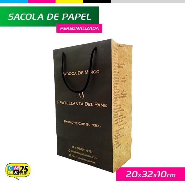 Detalhes do produto Sacola de Papel Kraft Personalizada - 20x32x10cm