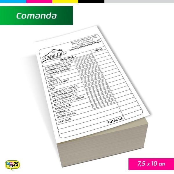 Detalhes do produto Comanda 7,5x10cm - 4000 Unid.