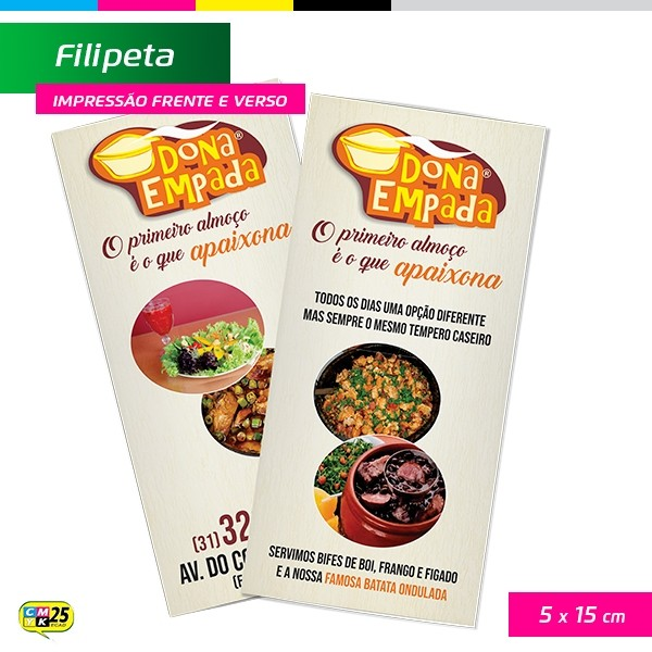 Detalhes do produto Filipeta - 4x4 - 5x15cm - 5.000 Unid + Arte Final